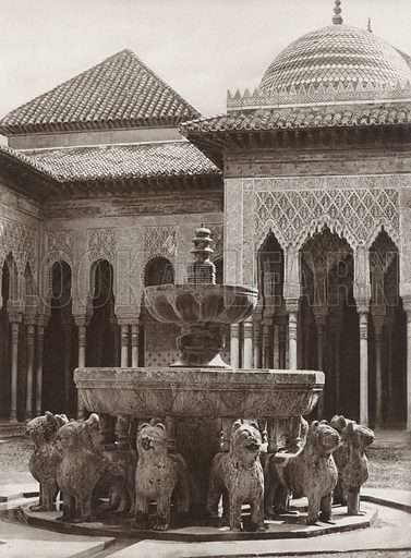 Granada, Alhambra, The Lion Fountain in the Court of the Lions. Illustration for Das Unbekannte Spanien, Baukunst, Landschaft, Volksleben, by Kurt Hielscher (Ernst Wasmuth, 1925).  Gravure printed.