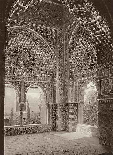 Granada, Alhambra, Bay Windows of the Daraxa. Illustration for Das Unbekannte Spanien, Baukunst, Landschaft, Volksleben, by Kurt Hielscher (Ernst Wasmuth, 1925).  Gravure printed.