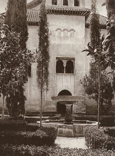 Granada, Alhambra, In the Daraxa Garden. Illustration for Das Unbekannte Spanien, Baukunst, Landschaft, Volksleben, by Kurt Hielscher (Ernst Wasmuth, 1925).  Gravure printed.
