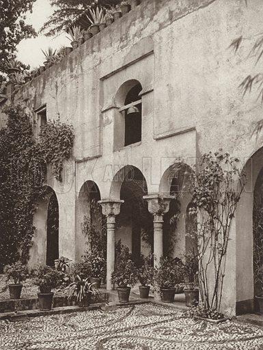 Granada, Entrance-Hall of the Generalife. Illustration for Das Unbekannte Spanien, Baukunst, Landschaft, Volksleben, by Kurt Hielscher (Ernst Wasmuth, 1925).  Gravure printed.