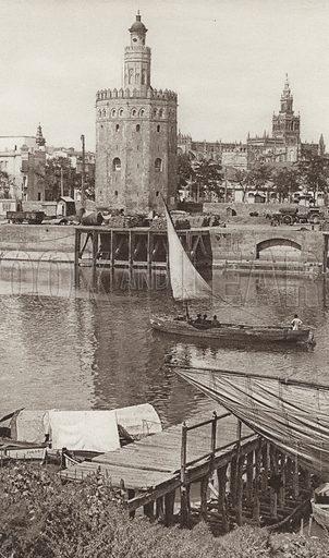 Sevilla, The Golden Tower and the Cathedral. Illustration for Das Unbekannte Spanien, Baukunst, Landschaft, Volksleben, by Kurt Hielscher (Ernst Wasmuth, 1925).  Gravure printed.