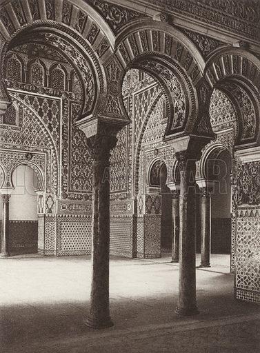 Sevilla, Alcazar, The Ambassadors Hall. Illustration for Das Unbekannte Spanien, Baukunst, Landschaft, Volksleben, by Kurt Hielscher (Ernst Wasmuth, 1925).  Gravure printed.