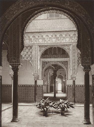 Sevilla, Alcazar, The Dolls' Court. Illustration for Das Unbekannte Spanien, Baukunst, Landschaft, Volksleben, by Kurt Hielscher (Ernst Wasmuth, 1925).  Gravure printed.