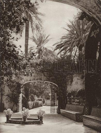 Sevilla, In the Alcazar Garden. Illustration for Das Unbekannte Spanien, Baukunst, Landschaft, Volksleben, by Kurt Hielscher (Ernst Wasmuth, 1925).  Gravure printed.