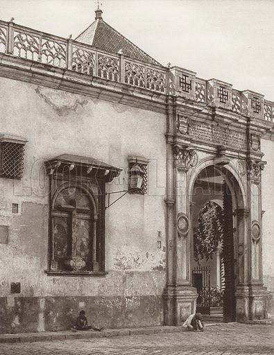 Sevilla, Pilate's House. Illustration for Das Unbekannte Spanien, Baukunst, Landschaft, Volksleben, by Kurt Hielscher (Ernst Wasmuth, 1925).  Gravure printed.