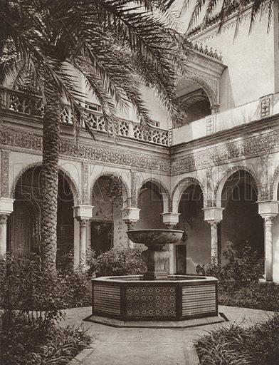 Sevilla, Court in Duke Alba's Palace. Illustration for Das Unbekannte Spanien, Baukunst, Landschaft, Volksleben, by Kurt Hielscher (Ernst Wasmuth, 1925).  Gravure printed.
