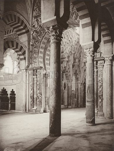 Cordoba, Interior of the Mosque. Illustration for Das Unbekannte Spanien, Baukunst, Landschaft, Volksleben, by Kurt Hielscher (Ernst Wasmuth, 1925).  Gravure printed.