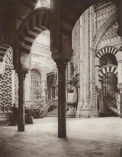 Cordoba, Mosque, View of the High Altar. Illustration for Das Unbekannte Spanien, Baukunst, Landschaft, Volksleben, by Kurt Hielscher (Ernst Wasmuth, 1925).  Gravure printed.
