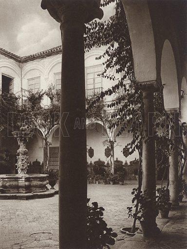Ecija, Court in the Marquis of Penaflor's Palace. Illustration for Das Unbekannte Spanien, Baukunst, Landschaft, Volksleben, by Kurt Hielscher (Ernst Wasmuth, 1925).  Gravure printed.