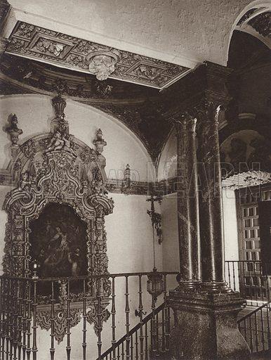 Ecija, Staircase in the Marquis of Penaflor's Palace. Illustration for Das Unbekannte Spanien, Baukunst, Landschaft, Volksleben, by Kurt Hielscher (Ernst Wasmuth, 1925).  Gravure printed.