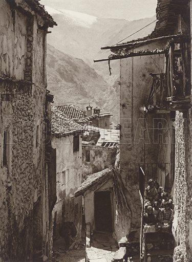 Guejar, Sierra, Sierra Nevada. Illustration for Das Unbekannte Spanien, Baukunst, Landschaft, Volksleben, by Kurt Hielscher (Ernst Wasmuth, 1925).  Gravure printed.