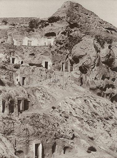 Cave Dwellings, Province of Almeria. None of the caves shown in this book are prehistoric. They are still escavated and inhabited. Illustration for Das Unbekannte Spanien, Baukunst, Landschaft, Volksleben, by Kurt Hielscher (Ernst Wasmuth, 1925).  Gravure printed.
