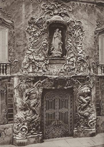 Valencia, Gateway of the Marquis de Dos Aguas Palace. Illustration for Das Unbekannte Spanien, Baukunst, Landschaft, Volksleben, by Kurt Hielscher (Ernst Wasmuth, 1925).  Gravure printed.