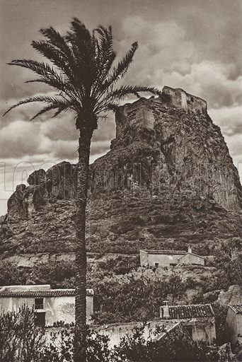 Mount Agudo, Province of Murcia. Illustration for Das Unbekannte Spanien, Baukunst, Landschaft, Volksleben, by Kurt Hielscher (Ernst Wasmuth, 1925).  Gravure printed.