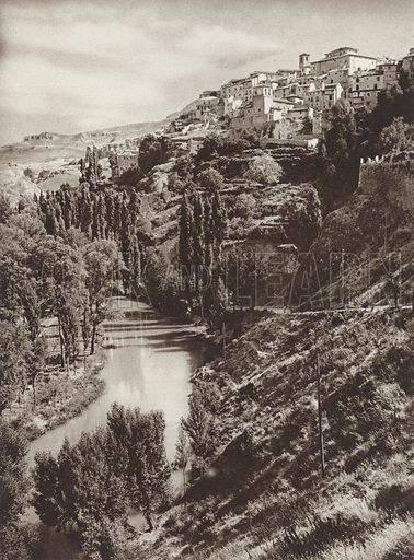 Cuenca. Illustration for Das Unbekannte Spanien, Baukunst, Landschaft, Volksleben, by Kurt Hielscher (Ernst Wasmuth, 1925).  Gravure printed.