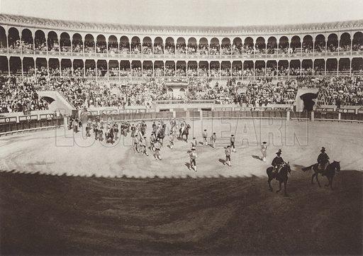 Entrance of the bull-fighters into the Madrid Arena. Illustration for Das Unbekannte Spanien, Baukunst, Landschaft, Volksleben, by Kurt Hielscher (Ernst Wasmuth, 1925).  Gravure printed.