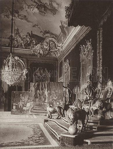 Madrid, The Throne-Room in the Royal Castle. Illustration for Das Unbekannte Spanien, Baukunst, Landschaft, Volksleben, by Kurt Hielscher (Ernst Wasmuth, 1925).  Gravure printed.
