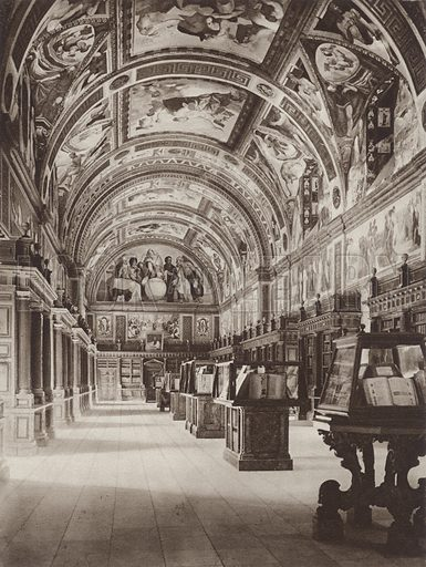 Escorial, The Library. Illustration for Das Unbekannte Spanien, Baukunst, Landschaft, Volksleben, by Kurt Hielscher (Ernst Wasmuth, 1925).  Gravure printed.