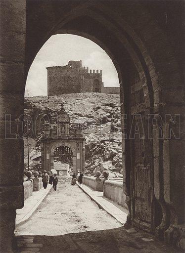 Toledo, View through the gateway of the Alcantara Bridge. Illustration for Das Unbekannte Spanien, Baukunst, Landschaft, Volksleben, by Kurt Hielscher (Ernst Wasmuth, 1925).  Gravure printed.
