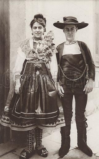 Lagartera Wedding Dress, Province of Toledo. Illustration for Das Unbekannte Spanien, Baukunst, Landschaft, Volksleben, by Kurt Hielscher (Ernst Wasmuth, 1925).  Gravure printed.