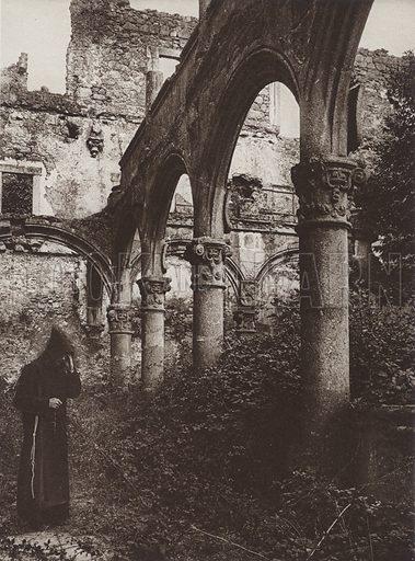 Ruins of the Cloister in Yuste Convent. Illustration for Das Unbekannte Spanien, Baukunst, Landschaft, Volksleben, by Kurt Hielscher (Ernst Wasmuth, 1925).  Gravure printed.