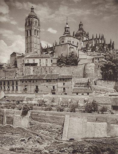 Segovia, The Cathedral. Illustration for Das Unbekannte Spanien, Baukunst, Landschaft, Volksleben, by Kurt Hielscher (Ernst Wasmuth, 1925).  Gravure printed.