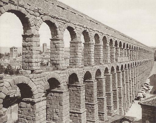 Segovia, The Roman Aqueduct. Illustration for Das Unbekannte Spanien, Baukunst, Landschaft, Volksleben, by Kurt Hielscher (Ernst Wasmuth, 1925).  Gravure printed.