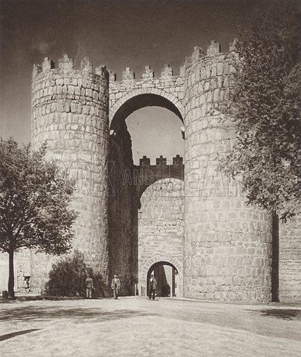 Avila, St Vicent Gate. Illustration for Das Unbekannte Spanien, Baukunst, Landschaft, Volksleben, by Kurt Hielscher (Ernst Wasmuth, 1925).  Gravure printed.
