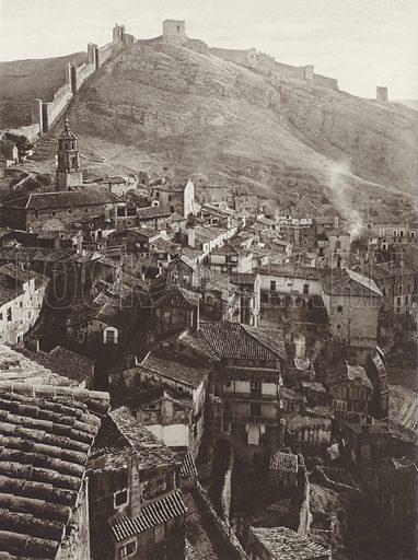 Albarracin. Illustration for Das Unbekannte Spanien, Baukunst, Landschaft, Volksleben, by Kurt Hielscher (Ernst Wasmuth, 1925).  Gravure printed.