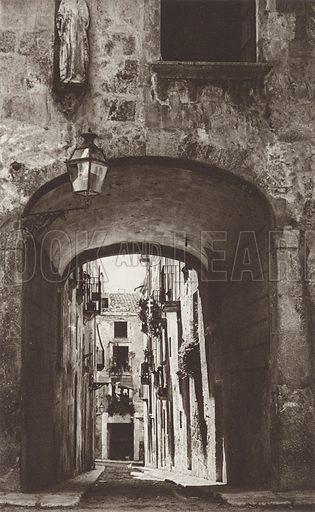 Tarragona, St Tecla Gate. Illustration for Das Unbekannte Spanien, Baukunst, Landschaft, Volksleben, by Kurt Hielscher (Ernst Wasmuth, 1925).  Gravure printed.