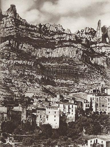 The Montserrat. Monistrol at the foot. Illustration for Das Unbekannte Spanien, Baukunst, Landschaft, Volksleben, by Kurt Hielscher (Ernst Wasmuth, 1925).  Gravure printed.