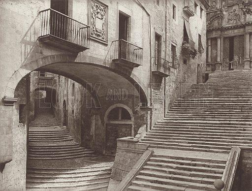 Gerona, Steps of St Domingo. Illustration for Das Unbekannte Spanien, Baukunst, Landschaft, Volksleben, by Kurt Hielscher (Ernst Wasmuth, 1925).  Gravure printed.