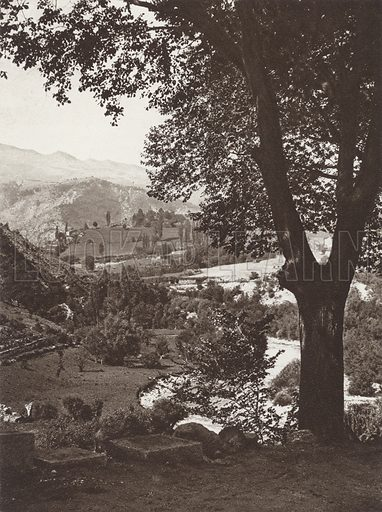 Pyrenees, Segre Valley. Illustration for Das Unbekannte Spanien, Baukunst, Landschaft, Volksleben, by Kurt Hielscher (Ernst Wasmuth, 1925).  Gravure printed.