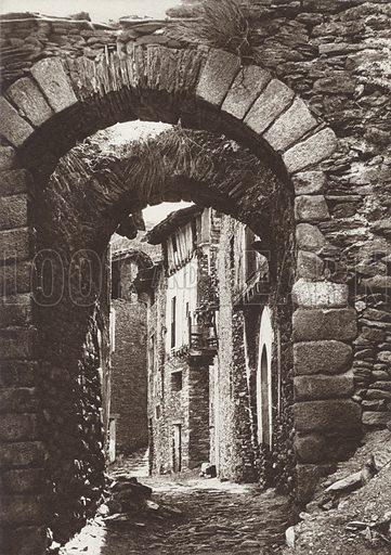 Pyrenees, Castelibo. Illustration for Das Unbekannte Spanien, Baukunst, Landschaft, Volksleben, by Kurt Hielscher (Ernst Wasmuth, 1925).  Gravure printed.