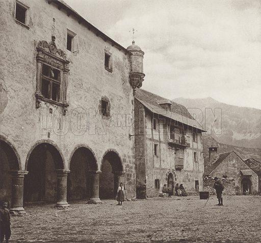 Pyrenees, In Bielsa. Illustration for Das Unbekannte Spanien, Baukunst, Landschaft, Volksleben, by Kurt Hielscher (Ernst Wasmuth, 1925).  Gravure printed.