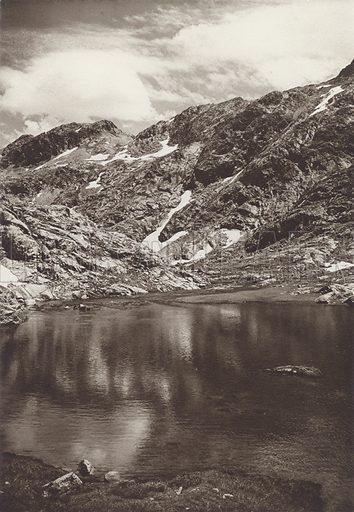 Pyrenees, Sea of Brachimana, near Panticosa. Illustration for Das Unbekannte Spanien, Baukunst, Landschaft, Volksleben, by Kurt Hielscher (Ernst Wasmuth, 1925).  Gravure printed.
