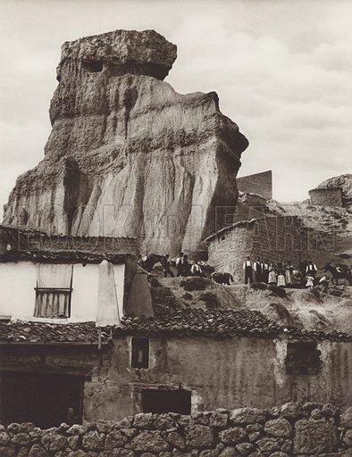 Rock formation of St Esteban de Gormaz. Illustration for Das Unbekannte Spanien, Baukunst, Landschaft, Volksleben, by Kurt Hielscher (Ernst Wasmuth, 1925).  Gravure printed.