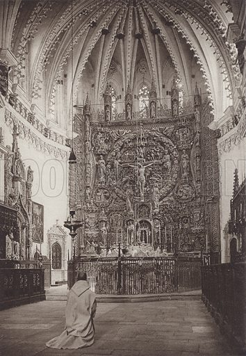 Burgos, Cartuja Miraflores, High-Altar of the Church. Illustration for Das Unbekannte Spanien, Baukunst, Landschaft, Volksleben, by Kurt Hielscher (Ernst Wasmuth, 1925).  Gravure printed.