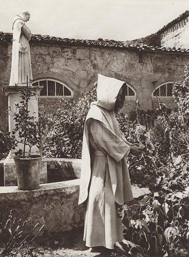 Burgos, In the Garden of the Cartuja Miraflores. Illustration for Das Unbekannte Spanien, Baukunst, Landschaft, Volksleben, by Kurt Hielscher (Ernst Wasmuth, 1925).  Gravure printed.