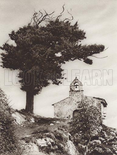 Lonely Chapel. Illustration for Das Unbekannte Spanien, Baukunst, Landschaft, Volksleben, by Kurt Hielscher (Ernst Wasmuth, 1925).  Gravure printed.