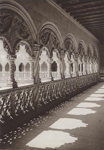 Valladolid, Gallery of St Gregorio. Illustration for Das Unbekannte Spanien, Baukunst, Landschaft, Volksleben, by Kurt Hielscher (Ernst Wasmuth, 1925).  Gravure printed.