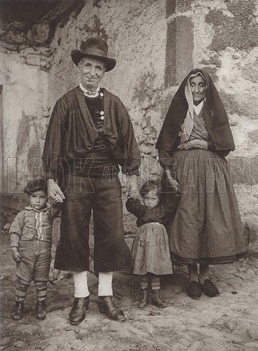 Costumes in La Alberca, Province of Salamanca. Illustration for Das Unbekannte Spanien, Baukunst, Landschaft, Volksleben, by Kurt Hielscher (Ernst Wasmuth, 1925).  Gravure printed.