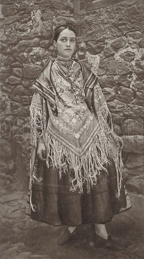Festal costume in La Alberca. Illustration for Das Unbekannte Spanien, Baukunst, Landschaft, Volksleben, by Kurt Hielscher (Ernst Wasmuth, 1925).  Gravure printed.