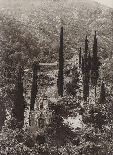 The Monastery of Las Batuecas. Illustration for Das Unbekannte Spanien, Baukunst, Landschaft, Volksleben, by Kurt Hielscher (Ernst Wasmuth, 1925).  Gravure printed.
