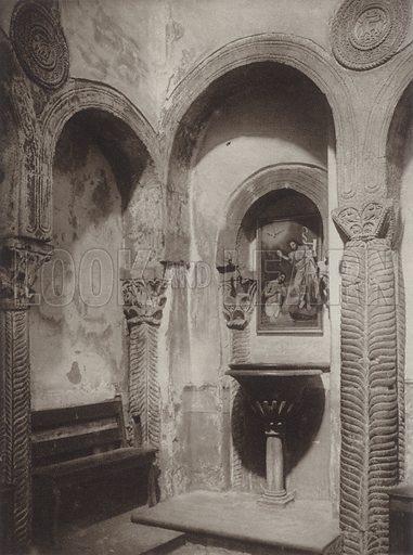 Interior of the Chapel of St Maria de Naranco near Oviedo, erected about 845. Illustration for Das Unbekannte Spanien, Baukunst, Landschaft, Volksleben, by Kurt Hielscher (Ernst Wasmuth, 1925).  Gravure printed.
