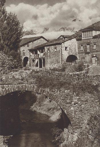 Potes, Picos de Europa. Illustration for Das Unbekannte Spanien, Baukunst, Landschaft, Volksleben, by Kurt Hielscher (Ernst Wasmuth, 1925).  Gravure printed.