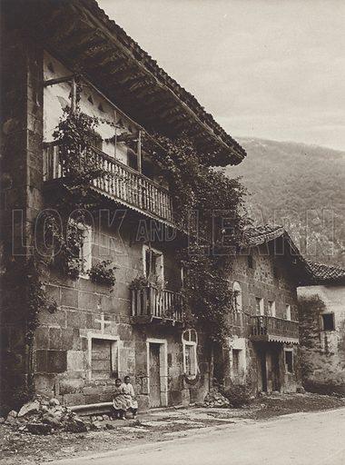 Basque Peasant's House, Manaria. Illustration for Das Unbekannte Spanien, Baukunst, Landschaft, Volksleben, by Kurt Hielscher (Ernst Wasmuth, 1925).  Gravure printed.