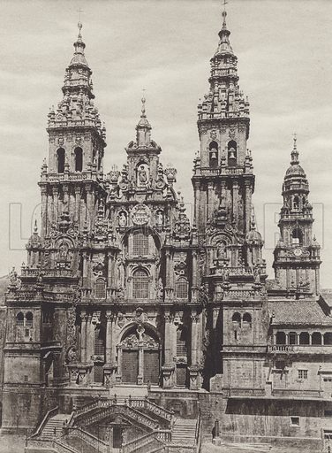 Santiago de Campostela, The Cathedral. Illustration for Das Unbekannte Spanien, Baukunst, Landschaft, Volksleben, by Kurt Hielscher (Ernst Wasmuth, 1925).  Gravure printed.