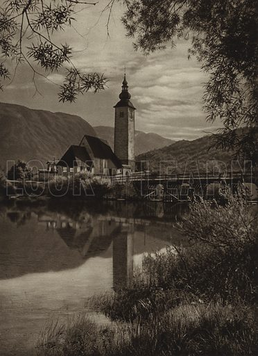 Church near Lake Wochheim. Illustration for Jugoslavien, Slovenien, Kroatien, Dalmatien, Montenegro, Herzegowina, Bosnien, Serbien, Landschaft, Baukunst, Volksleben by Kurt Hielscher (Ernst Wasmuth, 1926).  Gravure printed.