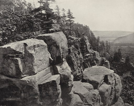 Cliffs near Devil's Lake, Wisconsin. Illustration for America Photographed (Donohue, Henneberry, 1897).